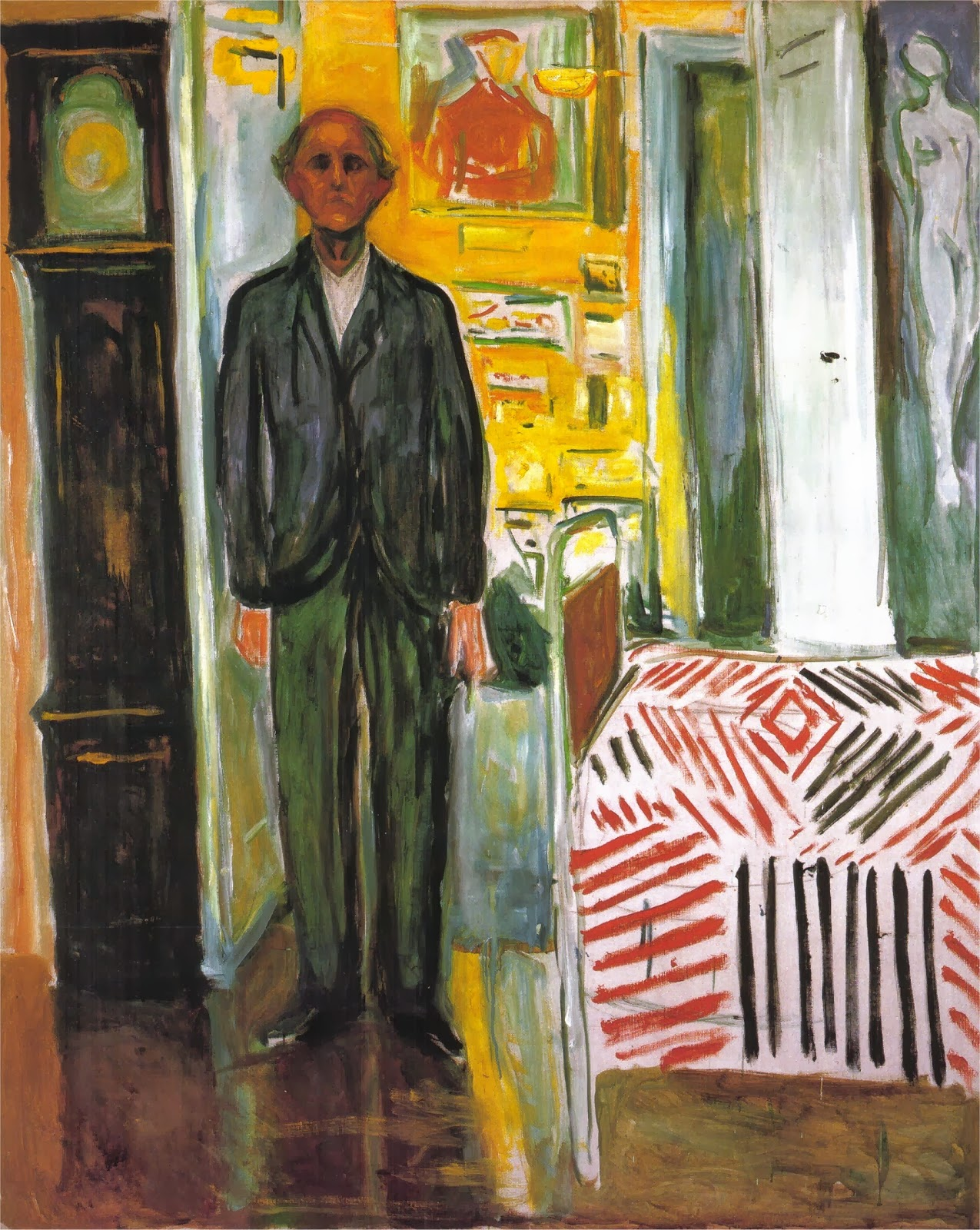 Self-Portrait. Between the Clock and the Bed, Edvard Munch (1940–43).